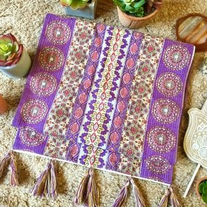 Vibrant Purple Boho Print Table Runner w/ Tassels